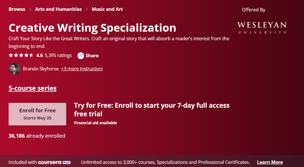 This is a five-course content writing specialization offered by Wesleyan University through Coursera.