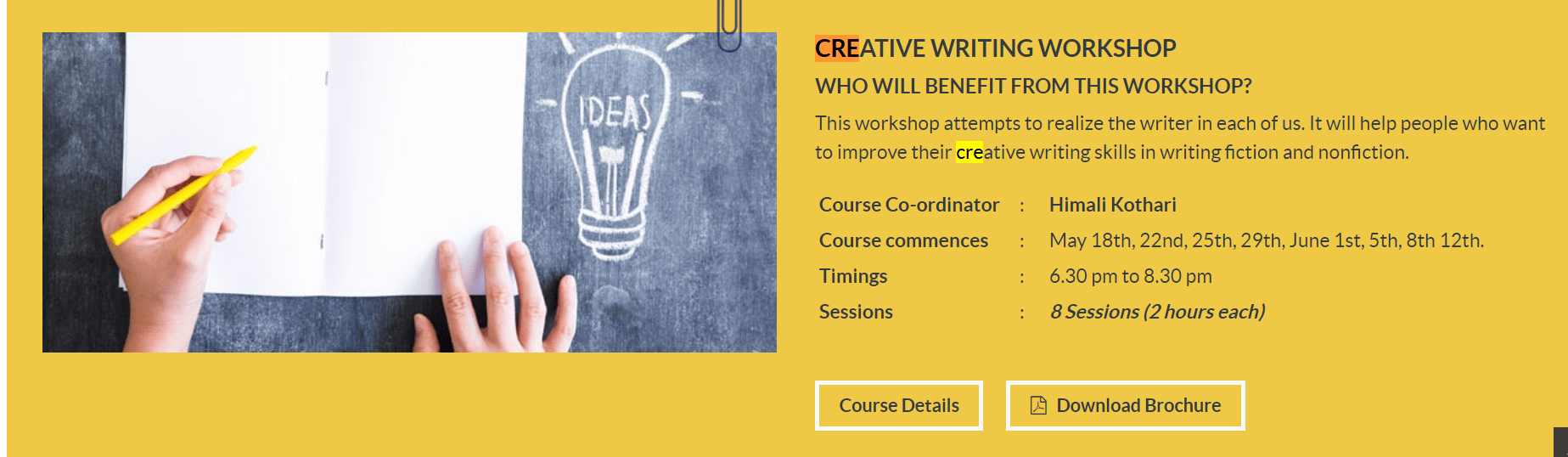 Xavier Institute of Communications Course Name: Creative Writing Workshop