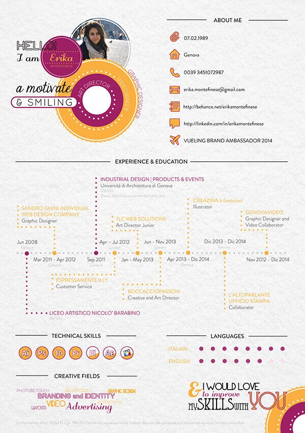 Infographic CV Freelance writer