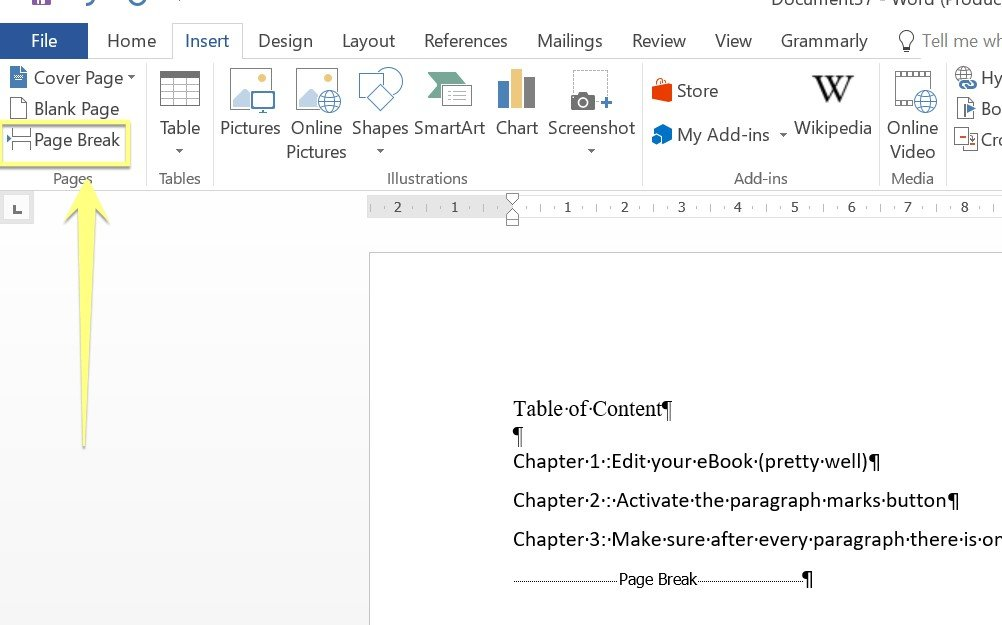 10 quick steps to format an ebook for kindle on microsoft word 8 insert page breaks fandeluxe Ebook collections