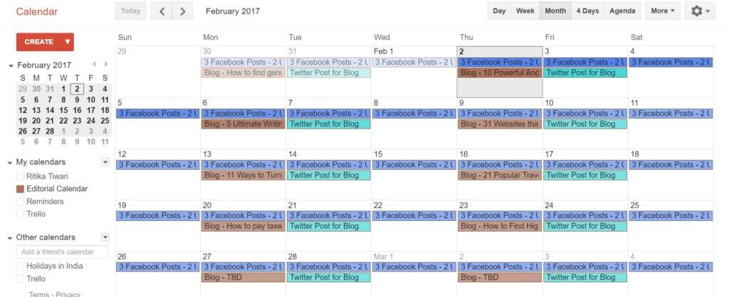 Google calendar is one of the must-have tools for freelance writers to organize their work and manage deadlines.