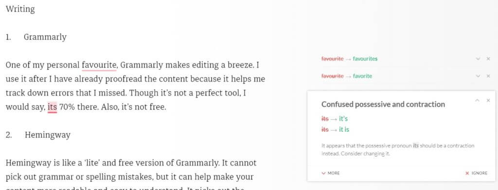 Grammarly is a great tool for freelance writers. It helps check errors you might have overlooked despite proofreading.