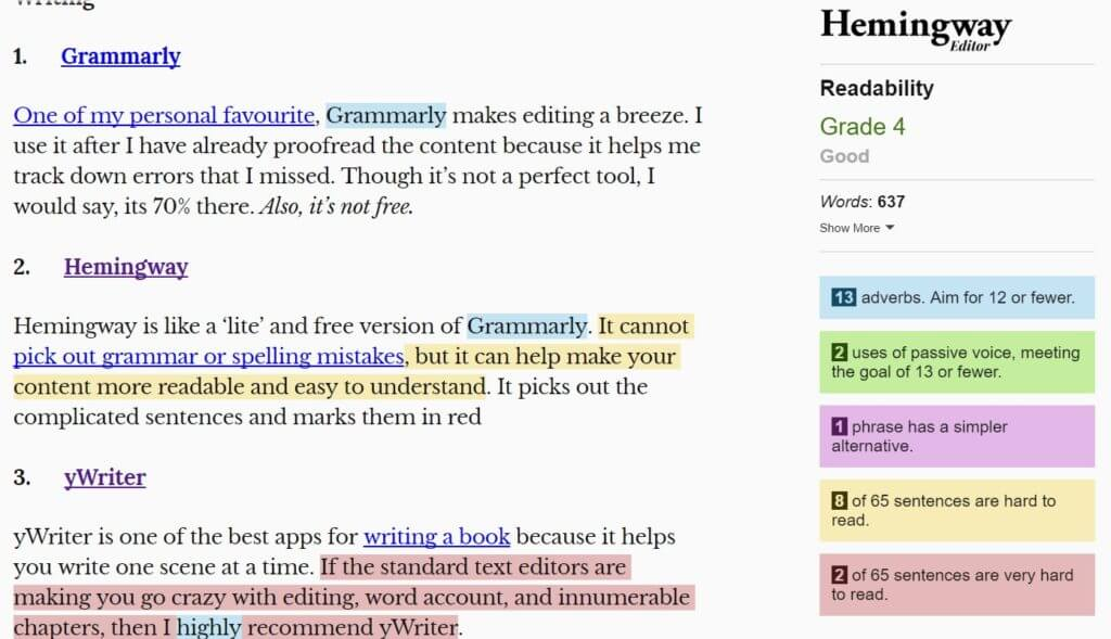 Hemmingway comes quite handy for Freelance Writers helping them create a more readable content.